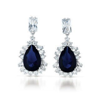 Collette Z Sterling Silver Clear and Deep Blue Cubic Zirconia Drop Earrings