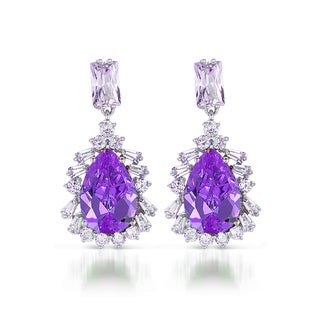 Collette Z Sterling Silver Clear and Purple Cubic Zirconia Drop Earrings