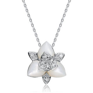Collette Z Sterling Silver Cubic Zirconia Floral Pendant - White