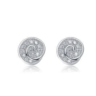 Collette Z Sterling Silver Cubic Zirconia Knot Earrings - White