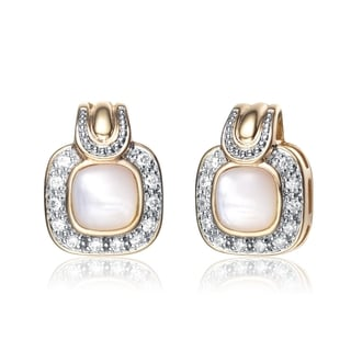 Collette Z Gold Overlay Cubic Zirconia Pink Stone Earrings