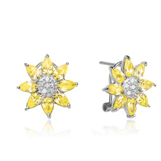 Collette Z Sterling Silver Clear and Yellow Cubic Zirconia Flower Knobs