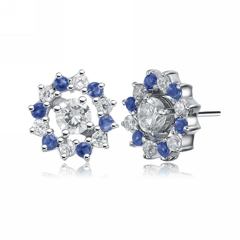 Collette Z Sterling Silver with Rhodium Plated Clear and Blue Round Cubic Zirconia Halo Stud Earrings