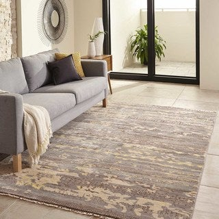 Terrene Hand-Knotted Grey Abstract Rug (5' x 8')