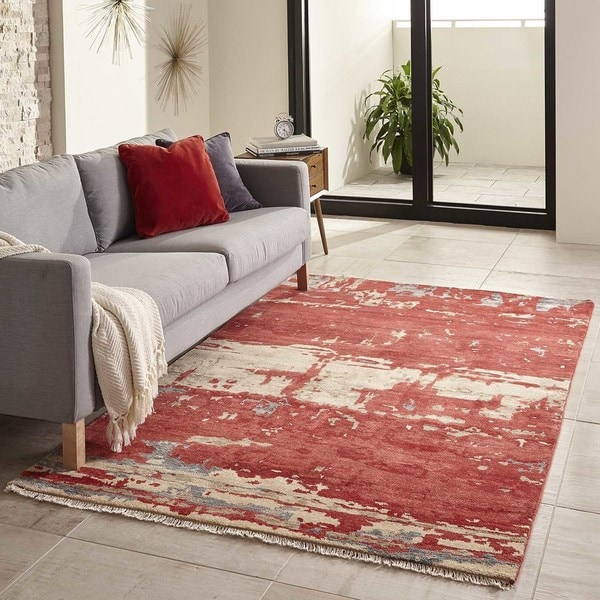 Momeni Terra Red Hand-Knotted Wool and Viscose Rug - 8' x 11'