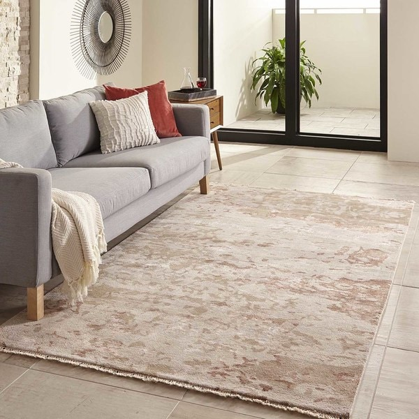 Momeni Terra Taupe Hand-Knotted Wool and Viscose Rug - 8' x 11'