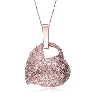 Collette Z Sterling Silver Pink Cubic Zirconia Heart in Heart