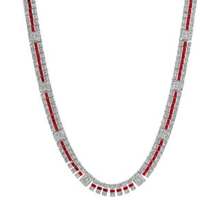 Collette Z Sterling Silver Clear and Deep Red Cubic Zirconia Stripe Necklace