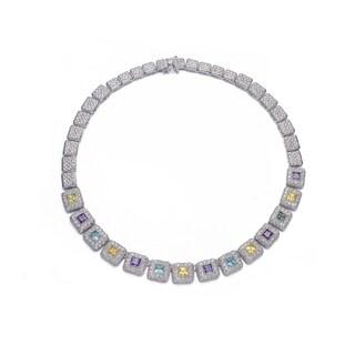 Collette Z Sterling Silver Multicolored Cubic Zirconia Mini Square Necklace