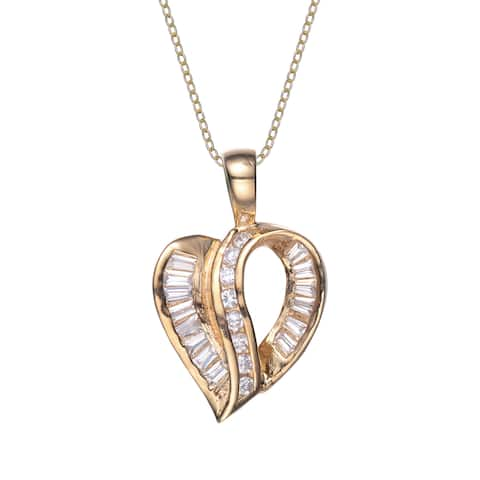 Collette Z Gold Plated Sterling Silver Cubic Zirconia Heart Pendant - White
