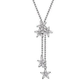 Collette Z Sterling Silver Clear Cubic Zirconia Flower Burst Necklace