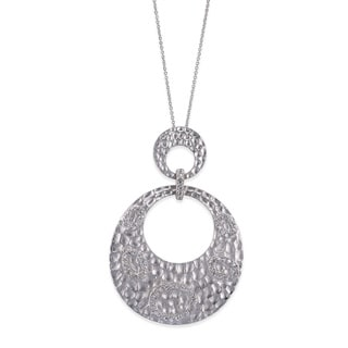 Collette Z Sterling Silver Cubic Zirconia Dual Circle Pendant