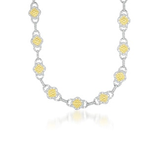 Collette Z Sterling Silver Clear Cubic Zirconia Link Necklace