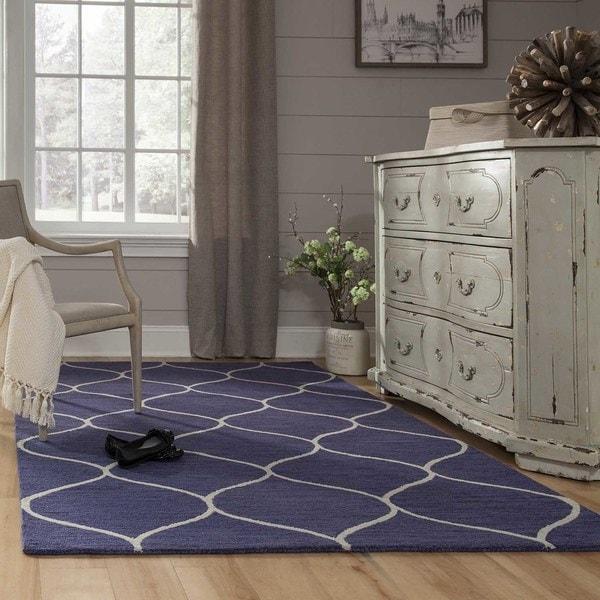 Momeni Newport Blue Hand-Tufted Wool Rug (5' X 8') - 5' x 8'