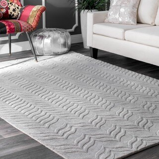 nuLOOM Handmade Carved Chevron Wool Grey Rug (8'6 x 11'6)