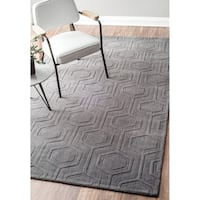 nuLOOM Handmade Carved Hexagon Wool Grey Rug - 8'6 x 11'6