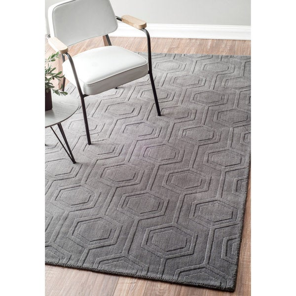 Shop Nuloom Handmade Carved Hexagon Wool Grey Rug 8 6 X