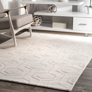 nuLOOM Handmade Carved Hexagon Wool Area Rug