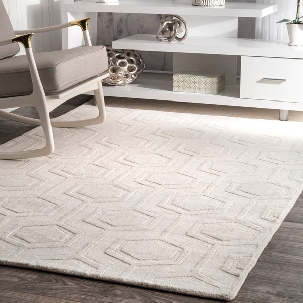 Nuloom Handmade Carved Hexagon Wool Ivory Rug 8 6 X 11 6