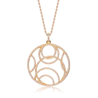 Collette Z Gold Plated Sterling Silver Cubic Zirconia Concentric Pendant