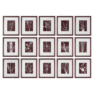 Abstract Marsala Floral Prints (Set of 15)