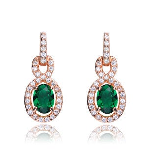 Collette Z Sterling Silver green and Clear Cubic Zirconia Number Eight Earrings