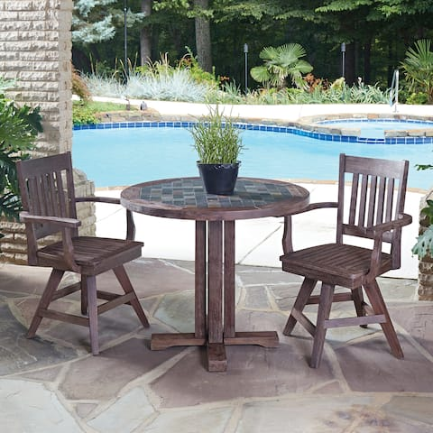 Morocco 3-piece Round Dining Set with swivel chairs by Home Styles