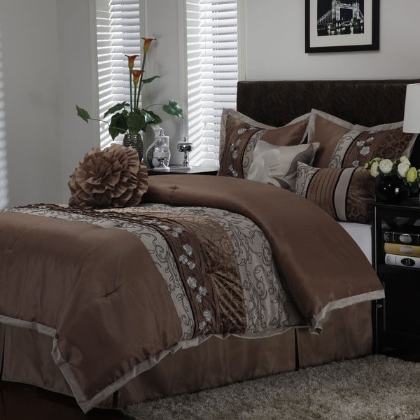 Nanshing Riley Taupe 7-piece Comforter Set
