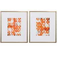 Overlapping Teal And Orange Modern Art (Set of 2)