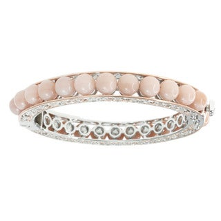 Michael Valitutti Peach Moonstone Hinged Bangle Bracelet (Option: Sterling Silver)