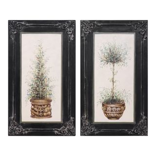 Topiaries Hand Painted Art (Set of 2)