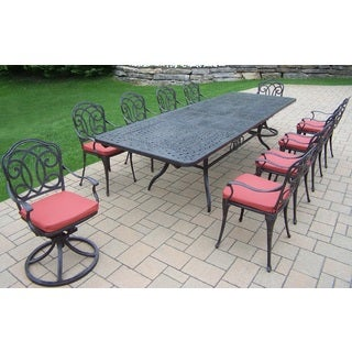 verona 11piece dining set with extendable table 2 cushioned swivel rockers