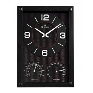 Bulova Black Wall Clock with a Therometer and Hygrometer Dial