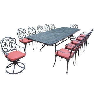 Verona Cushioned Aluminum 13-piece Dining Set, with Extendable Table, 2 Swivel Rockers, and 10 Chairs