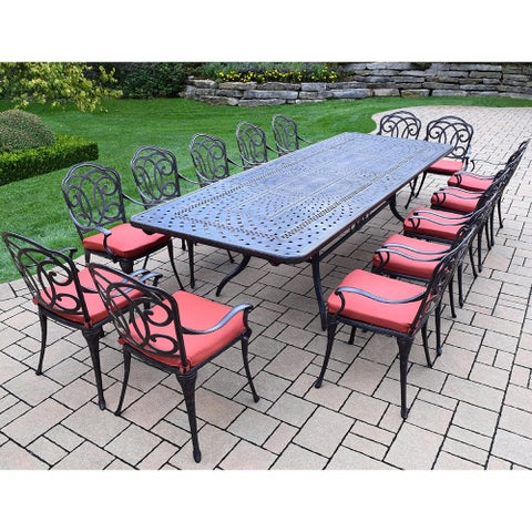 Gracewood Hollow Baeri Cushioned Cast Aluminum 15-piece Dining Set with Extendable Table