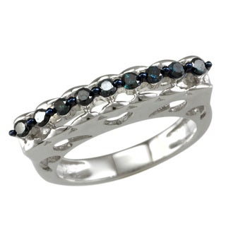 Sterling Silver 1/4ct TDW Blue Diamond Band Ring