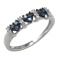 Sterling Silver 0.25ct TDW Blue and White Diamond Triple Heart Anniversary Band Ring