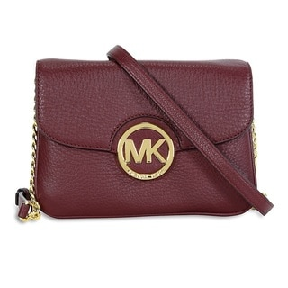 Michael Kors Fulton Merlot Flap Gusset Crossbody Handbag