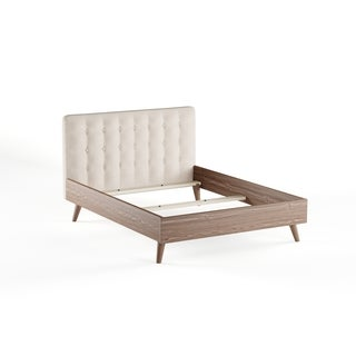 Baxton Studio Alinia Mid-century Retro Modern Light Beige Fabric Upholstered Walnut Wood Full or Queen Size Platform Bed
