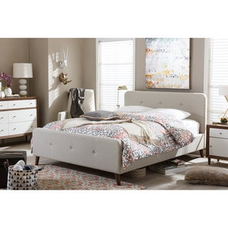 Baxton Studio Laurio Mid-century Retro Modern Light Beige Fabric Full or Queen Size Upholstered Platform Bed
