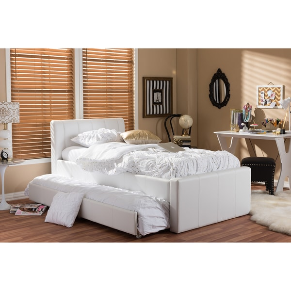 Baxton Studio Cosmo Modern And Contemporary White Faux Leather Twin Size Trundle Bed