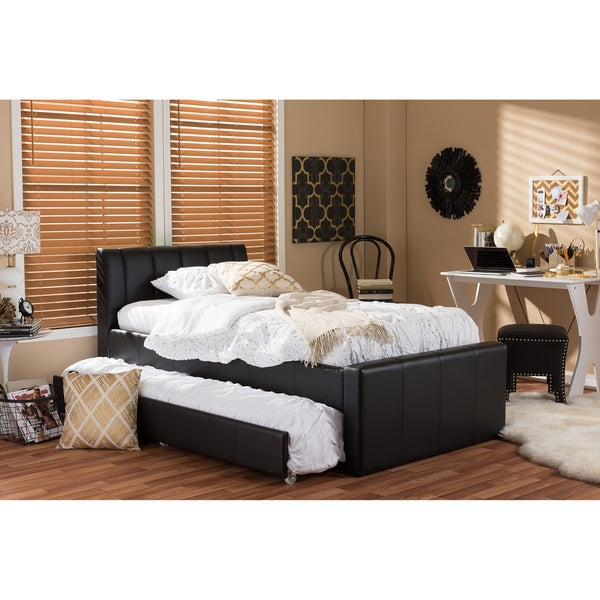 Leather Twin Bed Part - 18: Baxton Studio Cosmo Modern And Contemporary Black Faux Leather Twin Size  Trundle Bed