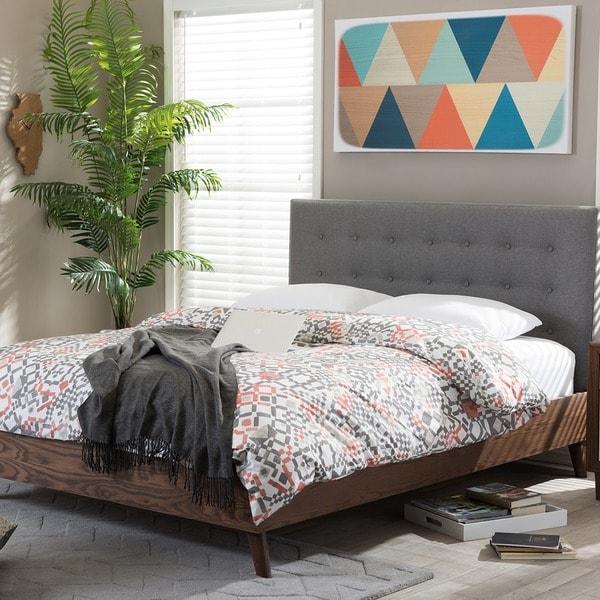 Carson Carrington Harjavalta Mid-century Grey Upholstered Walnut Wood Platform Bed. Opens flyout.
