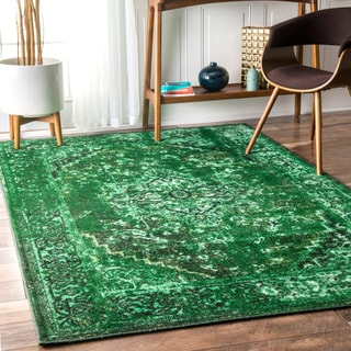nuLOOM Traditional Vintage Inspired Overdyed Fancy Green Rug (9' x 12')