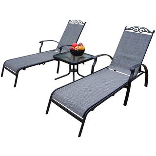 Premium Aluminum-Framed Sling 3-piece Chaise Lounge Set, with Two Chaise Lounges, and 20-inch Side Table