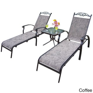 Premium Aluminum-Framed Sling 3-piece Chaise Lounge Set, with Two Chaise Lounges, and 20-inch Side Table (2 options available)