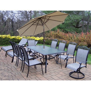 Aluminum Sling 14 Pc Dining Set 6 stackable Chairs, 2 Swivel Rockers, 2 Chaise lounges, 1 end table, Umbrella and Stand