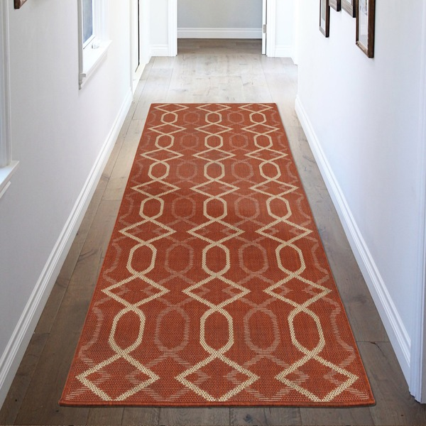 Jardin Collection Trellis Design Indoor/Outdoor Runner Rug