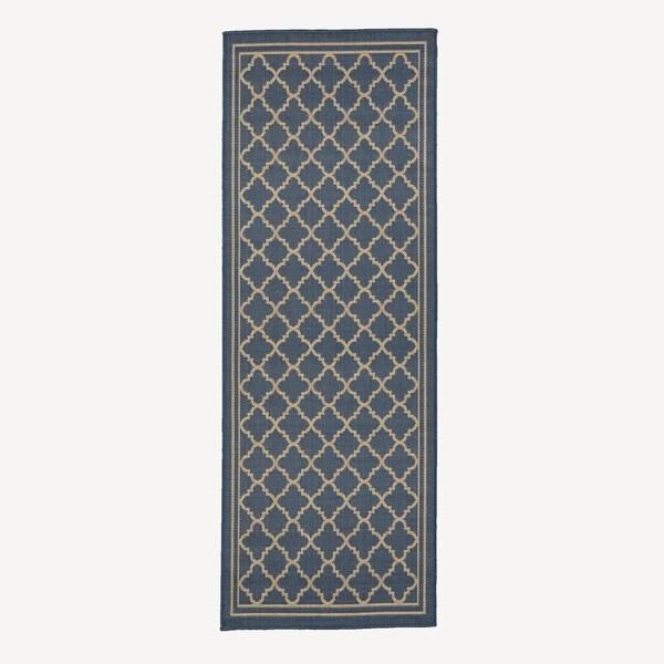 Jardin Collection Moroccan Trellis Design Indoor/Outdoor Runner Rug  (2u0026#x27;7