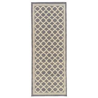 Jardin Collection Circles Design Indoor/Outdoor Runner Rug (2'7 x 7'3)
